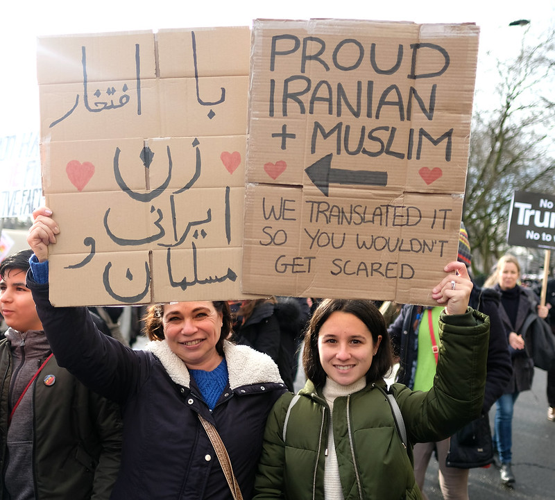 Proud Iranian and Muslim - two marchers in the London anti-Trump ban demo.